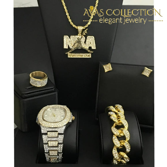Nba Mens Watch Iced Out Cuban Hip Hop & Necklace Bracelet Earrings Ring Combo Quartz Watches