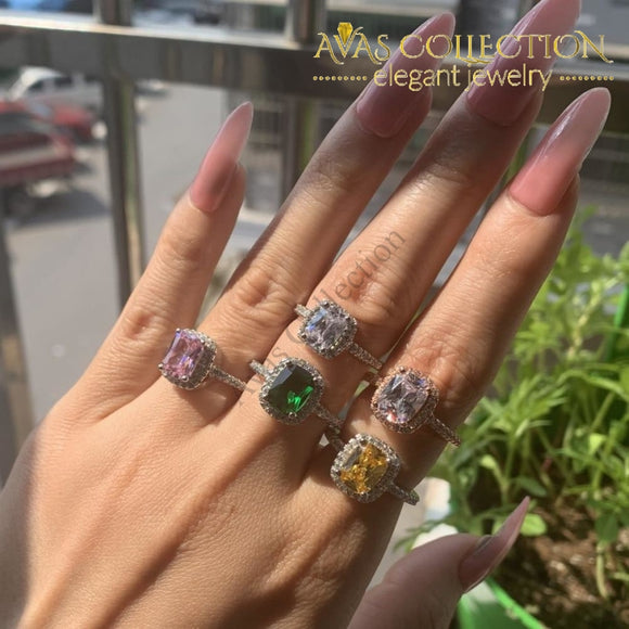 Sparkling Fashion Cushion Shape Multi Color Ring Rings