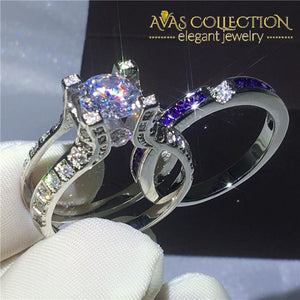 3 Colors 2-In-1 Ring Set - 10K White Gold Filled Rings
