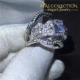3-in-1 Princess Cut  Wedding Ring White Gold Filled - Avas Collection