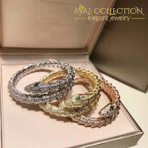 Open Bangle Green Eyes Snake Set 3 Color/ Rose Gold/ Yellow & White Gold Color Bangles