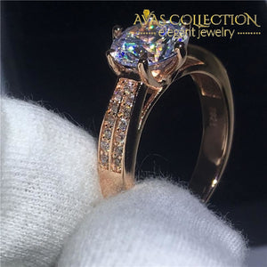 3Ct Rose Gold Filled Wedding Ring Set Forever Love Engagement Rings