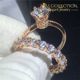 Crown Rose Gold Filled Wedding Ring Set - Avas Collection