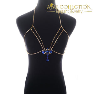 Fashion Gold/silver Color Body Chain Blue Rhinestone Bralette Jewelry