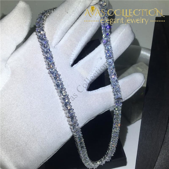 White Gold Filled Princess Cut Tennis Chain 45Cm Pendants