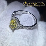 Yellow Oval Ring 10k White Gold Filled - Avas Collection