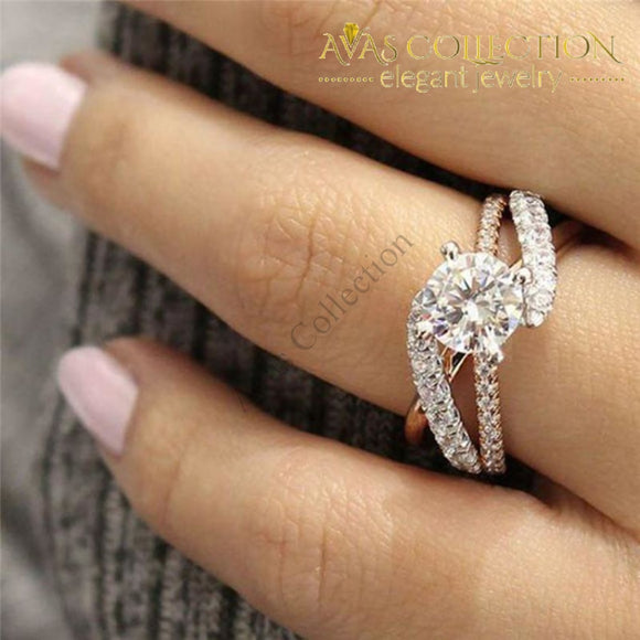 Round Rose Gold Sliver Color Engagement Ring Wedding Bands