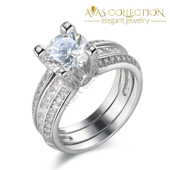2Ct  Solid 925 Sterling Silver Wedding Ring Set/ - Avas Collection