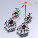 925 Silver Red Rhodolite White Crystal Earrings Ring Necklace Pendant Set - Avas Collection
