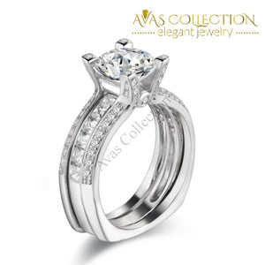 2 Carat Square Bottom Solid 925 Sterling Silver Wedding Ring Set - Avas Collection