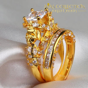 Princess Cut 7mm  Punk Skull  Yellow Gold Filled Wedding Set - Avas Collection