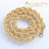 Hip Hop Full Iced Out 8Mm 22Inch Rope Chain Necklace Twisted Gold Color / Necklaces
