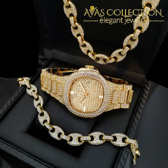 Luxury Watch & Full Iced Coffee Beans 18 Necklace 8 Bracelet Gift Set Jewelry Sets