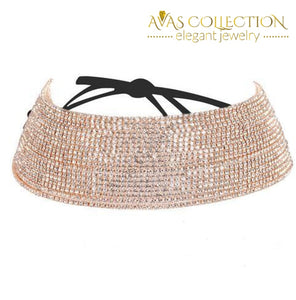 Hot Luxury Rhinestone Choker Statement Necklace - Avas Collection