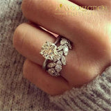 New Design Shiny Round 2Pc Ring Luxury Silver Leaf Rings