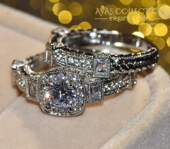 Big Unique Wedding Ring Set 18k White Gold Filled - Avas Collection