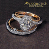 2 Pcs/set Rose Gold Egg-Shape Wedding Set Oval 10 Rings