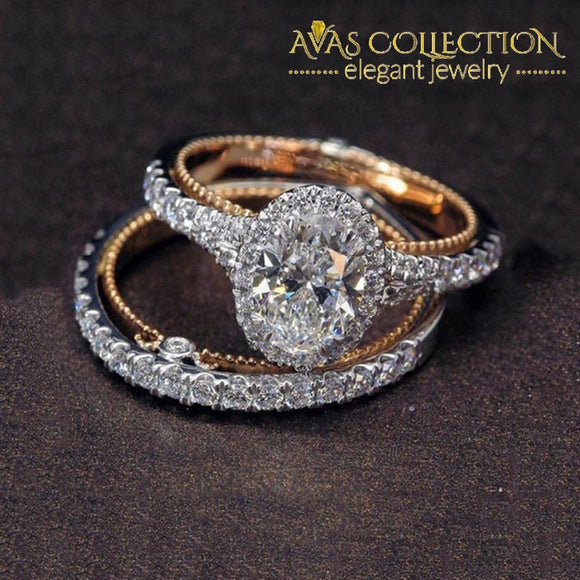 2 Pcs/set Rose Gold Egg-Shape Wedding Set Oval Rings