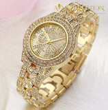 Iced Out Gold Tone Watch With Skull Bling Leather Rope Bracelet Gift Set Only Watch Chain & Link