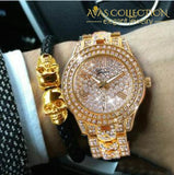 Iced Out Gold Tone Watch With Skull Bling Leather Rope Bracelet Gift Set Combination Set Chain &