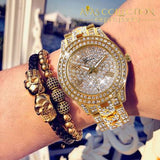 Iced Out Gold Tone Watch With Skull Bling Leather Rope Bracelet Gift Set Chain & Link Bracelets