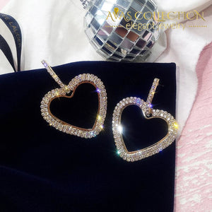 Big Heart Hoop Earrings Luxury Gold Silver Color Rhinestone
