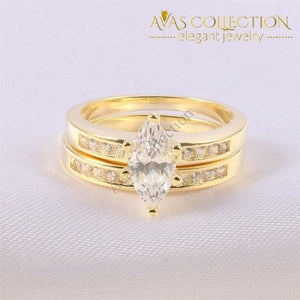 Latefahh Marquise Wedding Ring Set Rings
