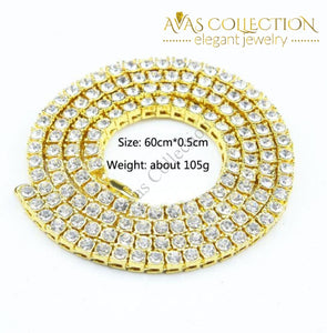 1 Row Rhinestones Hip-Hop 24Inch Necklace Pendants