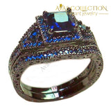 Luxury Engagement Wedding Bands 10Kt Black Gold Filled Purple/blue/ Pink/ Birthstone Stone 5 / Blue
