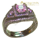 Luxury Engagement Wedding Bands 10Kt Black Gold Filled Purple/blue/ Pink/ Birthstone Stone 5 / Pink