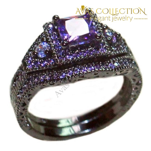 Luxury Engagement Wedding Bands 10Kt Black Gold Filled Purple/blue/ Pink/ Birthstone Stone Rings
