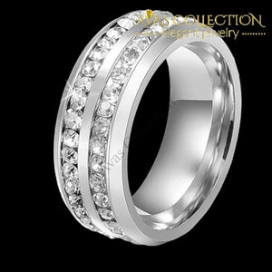 His and Hers Couple Rings Mens Stainless Steel Womens Infinity Princess Cut Yellow Gold/ White Gold Color - Avas Collection