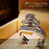 Luxury Female Big Finger Ring Set Crystal 925 Silver Bridal Promise Zircon Engagement Rings For