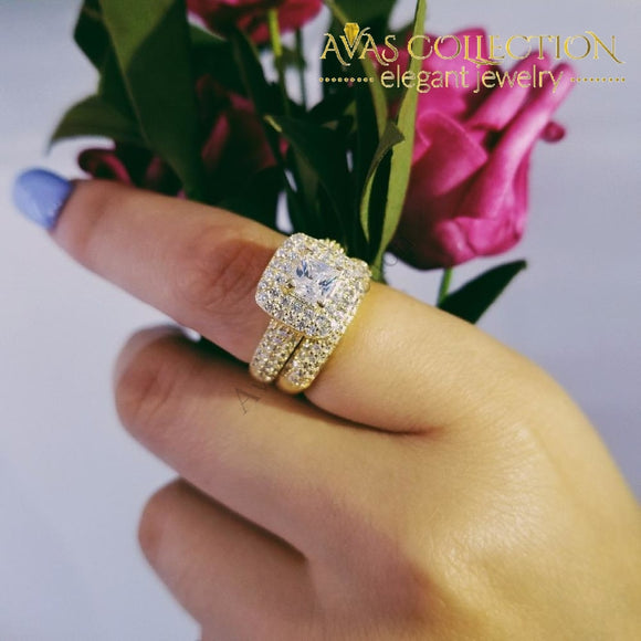 Luxury Bold Wedding Ring Engagement Simulated Diamonds Rings