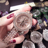 Stainless Steel Dress Watch Shining Rotation big Rhinestone Ladies Wrist Watch - Avas Collection