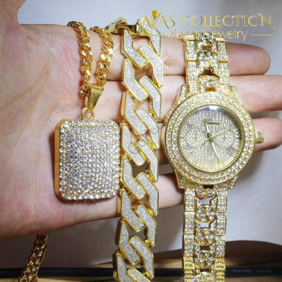 Iced Out Watch & Bracelet Square Necklace Combo Set Jewelry Sets