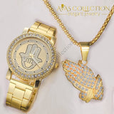 Mens Hip Hop Iced Out Hands Necklace/ Watch Set Jewelry Sets