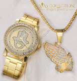 Mens Hip Hop Iced Out Hands Necklace/ Watch Set Combo Gold Jewelry Sets