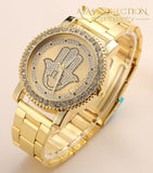 Mens Hip Hop Iced Out Hands Necklace/ Watch Set Only Gold Jewelry Sets