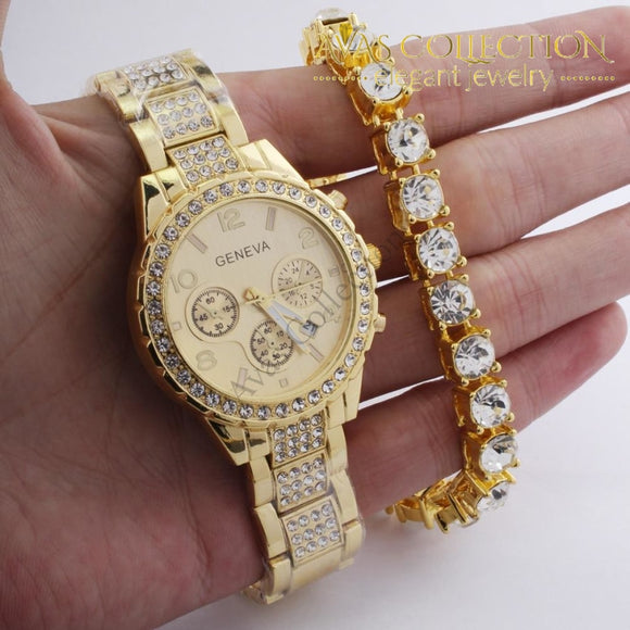 Iced Out Hip Hop Gold 8Mm 8.26 Cz Bracelet Watch Set Jewelry Gift Sets