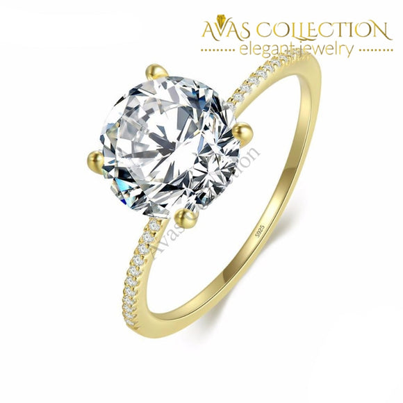 Round Cut 14k Yellow Gold/ 18k White Gold Filled/ 925 Engagement Ring/Promise Ring/ Anniversary - Avas Collection