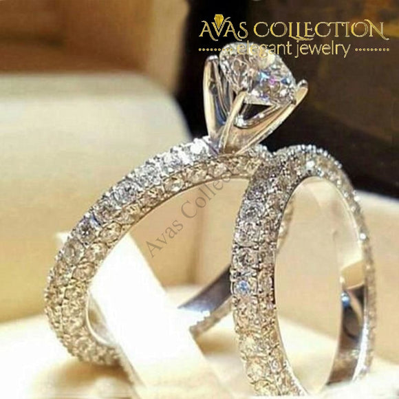 Wedding Ring Set 15158 Simulated Diamonds Engagement Rings