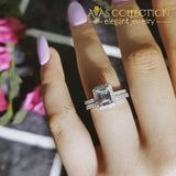Genuine 925 Sterling Silver Emerald Cut Ring Set Simulated Diamonds Engagement Rings