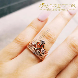 Crown Ring Set For Women Rose Gold Filled Rings