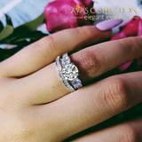 3 Stone 925 Silver Wedding Ring Set/ Simulated Diamonds Rings