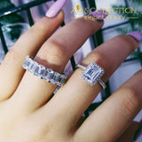 Emerald Cut Wedding Ring Set Solid 925 Simulated Diamonds High Quality Rings