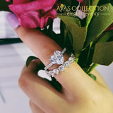 Heart Wedding Ring Set Solid 925 Silver Simulated Diamonds Rings