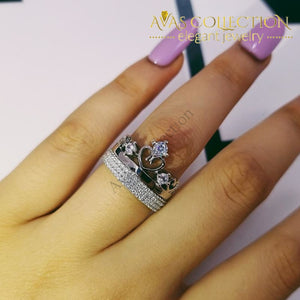 Elegant Crown Wedding Set Solid 925 Silver Couple Ring Rings