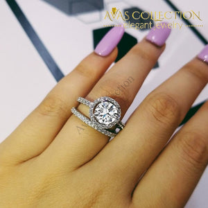 925 Silver Couple Rings Wedding Rings Simulated Diamonds Round Cut - Avas Collection