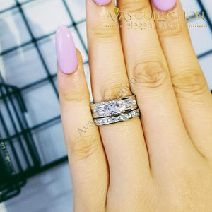 Solid Silver 925 Sterling Princess Cut Wedding Ring Set Rings